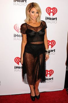 Aubrey O'Day in a lingerie-inspired frock