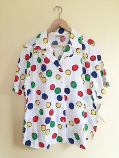 New Vintage 80s Polka Dot Button Down Short Sleeve by shopmoods