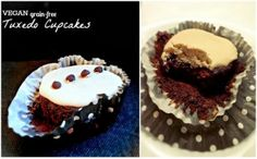 Grain-Free Tuxedo Cupcakes (Chocolate chocolate-chip cakes with Vanilla Frosting)! Chocolate Chip Cake, Chocolate Cupcakes, Chocolate Chocolate, Tuxedo Cupcakes, Vegan Gluten Free, Gluten Free Recipes, Paleo Sweets, Vanilla Frosting, Cupcake Recipes