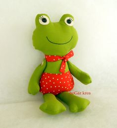 frog softies, hungarian handmade softies by bogarkrea Soft Toys Making, Frog Crafts, Animal Sewing Patterns, Fabric Animals, Fabric Toys, Cute Pillows, Sewing Toys, Soft Dolls, Sewing For Kids