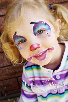 Clown face painting - Monkeys and Magnolias face and body art