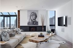 A black granite fireplace anchors the living room.