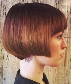 Red Angled Bob With Bangs #BobCutHairstylesAngles