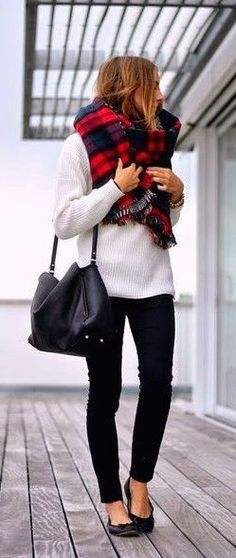 #fall #fashion / tartan scarf + knit