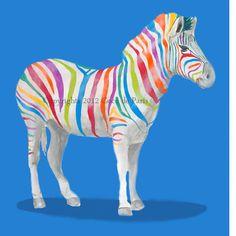 Rainbow Zebra Print - Art Print Poster - Drawing Illustration - Acrylic Painting - Art Decor. $10.00, via Etsy.