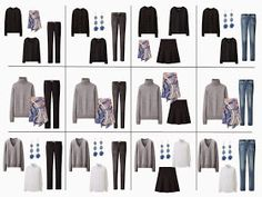 The French 5-Piece Wardrobe   A Common Wardrobe: shades of blue, with black and grey