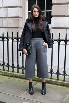 My London Fashion Week look. Obsessed with these neoprene culottes! Peexo personal style.