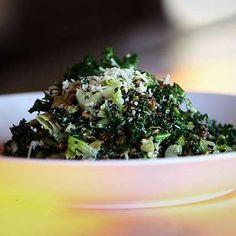 This chopped kale salad offsets a tart lemon parmesan vinaigrette with plump golden raisins