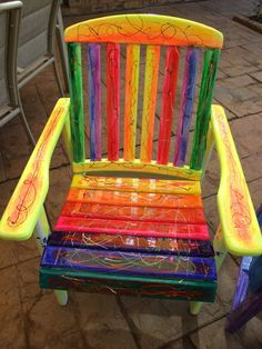 Rainbow Funky Vibrant Chair - Ooak Uniquely Hand Painted - Strong Good Quality…