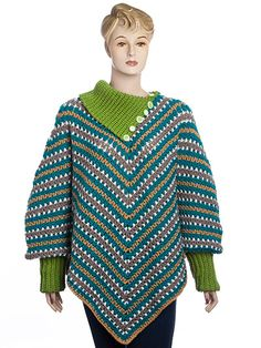 The wonderful design is a great, stylish garment for any size women. The poncho is oversize and comfy. This design can be made with or without sleeves, with a closed fold-over cowl or an open buttoning cowl. You can make it any length you want. It al...