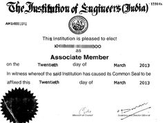 Certificate of The Institution of Engineers (India)
