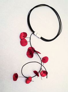 Red Fabric NecklaceLeather NecklaceFlower by KiZoy on Etsy Fabric Necklace, Flower Necklace, Handmade Necklaces, Handmade Gifts, Red Fabric, Leather Necklace, Fashion Necklace, Contemporary, Trending Outfits