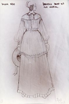 Much Ado About Nothing (Beatrice). RSC. Costume design by John Napier. 1976