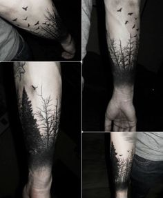 Black and white deep tumblr forest arm tattoo                                                                                                                                                      More