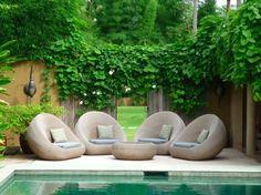 garten möbel terrasse pool sichtschutz kletterpflanzen zaun