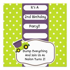 If he loves trucks and transportation vehicles, he'll love these purple, white, and green Dump Truck Birthday invitations that you can easily customize with all his birthday party specifics before ordering. White polka dots on green and a colorful and cute dump truck on dump truck theme birthday invites he's sure to love sending to invite all his family and friends! #birthday #customized #boys #kids #parties #personalized #childrens #dump #truck #trucks #big #trucks #cute #fun…