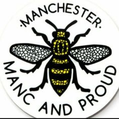 Manc and Proud Mosaic Bee Round Coaster Manchester Bee Worker Bee Northern Quarter Mosiac Black and Yellow Forever Manchester, Manchester Love, Manchester Worker Bee, Manchester United, Bolton England, Rochdale, Bee Tattoo, Salford, First Love