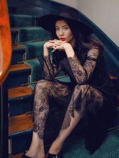 b39763f760e Hintd - Black Floral Mesh Midi Dress Rompers