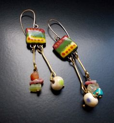Summer Dancer Earrings, Hot Salsa Colours, Goldfill ear wires, Unique Ceramic Tags, Mini gemstones and handmade lampwork, 1970's style by TheGildedCloud on Etsy