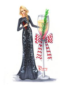 Fashion illustration of Christmas party in a french connection dress by houston fahion illustrator rongrong devoe, more at www.rongrongdevoe.com
