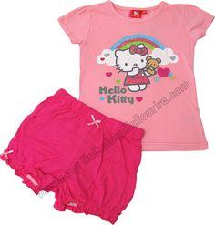Pyjama Hello Kitty ensemble t-shirt et short rose pour enfant fille marque officiel par UnCadeauUnSourire.com