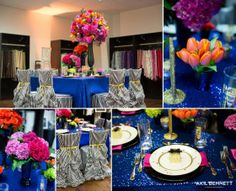 Table Setting with blue sequins, Kate Spade, bold florals + more. On the blog: http://www.pompcircumstance.com/blog/