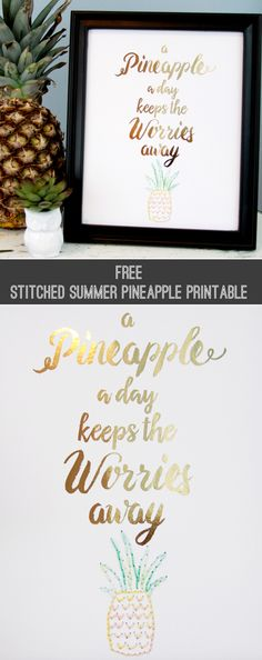 Free Stitched Summer Pineapple Printable