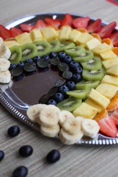 Rainbow fruit - dessert fruit recipes- Regenbogenobst – Dessert Obst Rezepte Great idea with fruit snack for the kids. In the form of … - Snacks Für Party, Fruit Snacks, Fruit Recipes, Yummy Snacks, Baby Food Recipes, Snack Recipes, Fruit Dessert, Kiwi, Homemade Sauerkraut