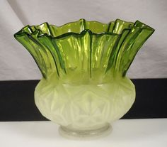"Vintage Frosted Green Glass Lamp Shade 2.25"" fitter 45663"