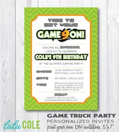 printable birthday video game invitation  video game party  game, party invitations