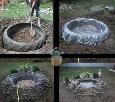 Create a garden pond out of an old used tire, rocks, an some imagination!