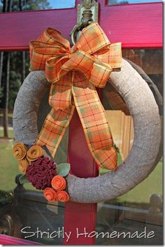 Strictly Homemade: Pool Noodle Fall Wreath. I'm so doing this today. pictures to come
