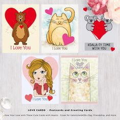 LOVE CARDS - Postcards and Greeting Cards. Show Your Love with These Cute Cards with Hearts - Great for Valentine's Day, Friendship, and more. Pet Rodents, Cute Wild Animals, Novelty Gifts, More Cute, Love Cards, Love Messages, Custom Greeting Cards, Kids Cards, Funny Gifts