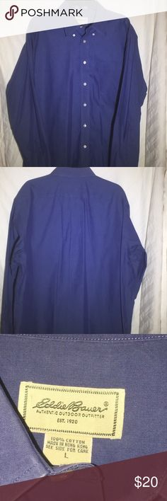 Eddie Bauer Wrinkle Resistant Button Down Shirt This is a Blue Eddie Bauer casual style Button Down dress shirt. Looks great with dark jeans for the casual dresses up look. This shirt is kept clean and pressed in a smoke free home. Eddie Bauer Shirts Casual Button Down Shirts