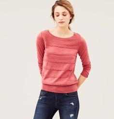 Pointelle Yoke Scalloped Ruffle Sweater | Loft $49.50