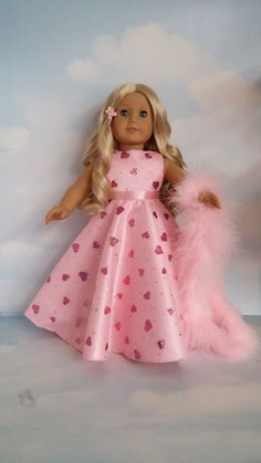 18 inch doll clothes - Pink Valentine Gown handmade to fit the American Girl…
