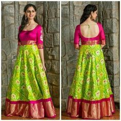 Indian Gowns Dresses, Indian Fashion Dresses, Indian Designer Outfits, Indian Outfits, Half Saree Designs, Lehenga Designs, Saree Blouse Designs, Kurta Designs, Blouse Patterns