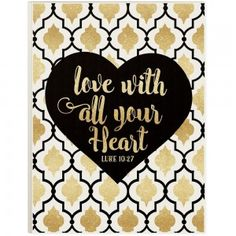 """Love With All Your Heart Glitter Plaque - 12"""" x 16"""""""