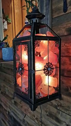 Great idea for a salt lamp in the LR Himalayan salt rock lantern Salt Room, Salt Rock Lamp, Himalayan Salt Lamp, Massage Room, Interior Exterior, My New Room, Feng Shui, Altar, Sweet Home