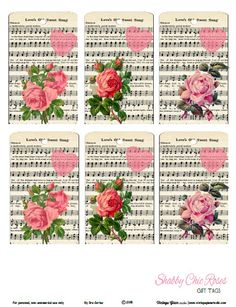 Free printable download of vintage shabby chic roses gift tags for your papercrafting use. Free for personal noncommercial use only.