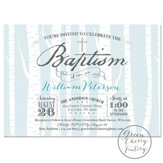 Printable Baptism Invitation - Boy Baptism Invitation - Light Blue - Birch Tree Winter Baptism Invite - Christening - No.880 on Etsy, $18.00