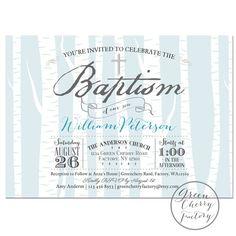 Printable Baptism Invitation - Boy Baptism Invitation - Light Blue - Birch Tree Winter Baptism Invite - Christening - No.880 on Etsy, $18.00