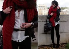 Red Scarf, my Love (by Lydia Marceau) http://lookbook.nu/look/1338857-Red-Scarf-my-Love