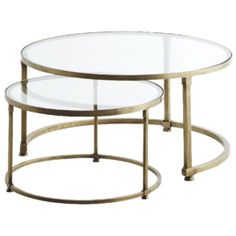 MADAM STOTZ - Set of two coffee table in brass and glass - Furniture Round Glass Coffee Table, Antique Coffee Tables, Brass Coffee Table, Coffee Table Design, Glass Table, Glass Furniture, Retro Furniture, Table Furniture, Office Furniture