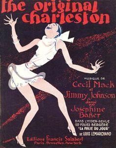 Original Charleston, 1923 ,The legendary Josephine Baker on a French music sheet cover for the Twenties dance craze