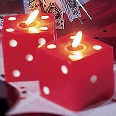 Dice Candle: we could get these for centerpieces or food table: ONLY $4
