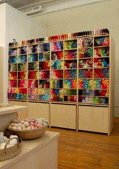 #yarn yarn yarn  So pretty.  What a great way to organize it, if you have this much.  I don't, but I want to do something similar to this with scrapbook paper.  You have to have so many different colors on hand because you can do TONS with paper.