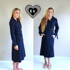 vtg 70s NAVY Military TRENCH COAT fitted xs/s by TigerlilyFrocks