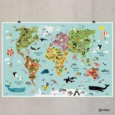 Eine tolle Bereicherung für jedes Kinderzimmer! Das großformatige Poster ist eine ideale Dekoration für Welt-Entdecker und Tierfreunde. Die kindergerecht illustrierte Weltkarte macht Kinder UND...