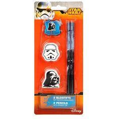 Set papeterie star wars 2 crayon +  gomme dark vador et stormtroopers